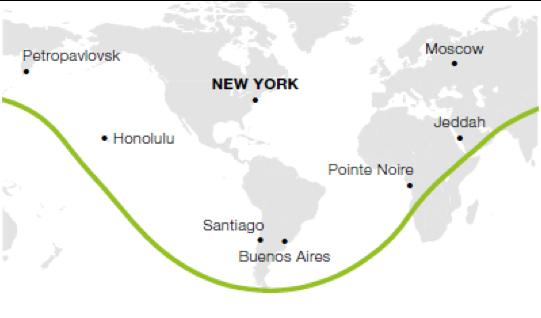 Carte de l'autonomie de Dassault Falcon 7X