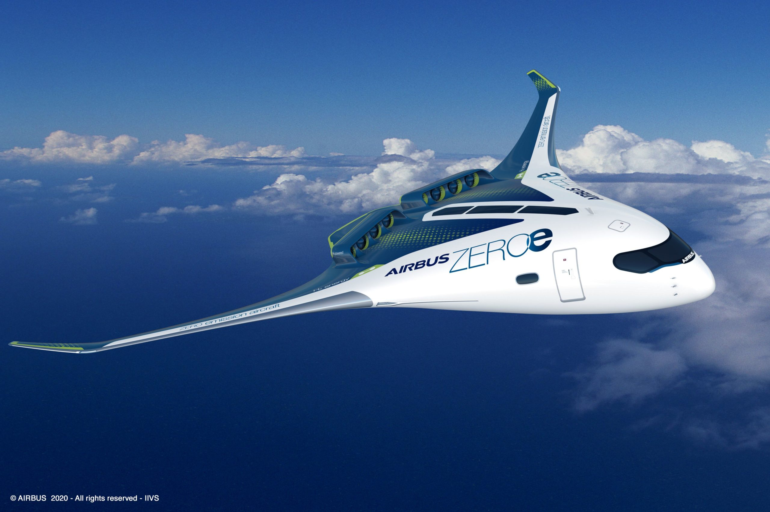 Airbus ZEROe Blended wing body powered by hydrogen