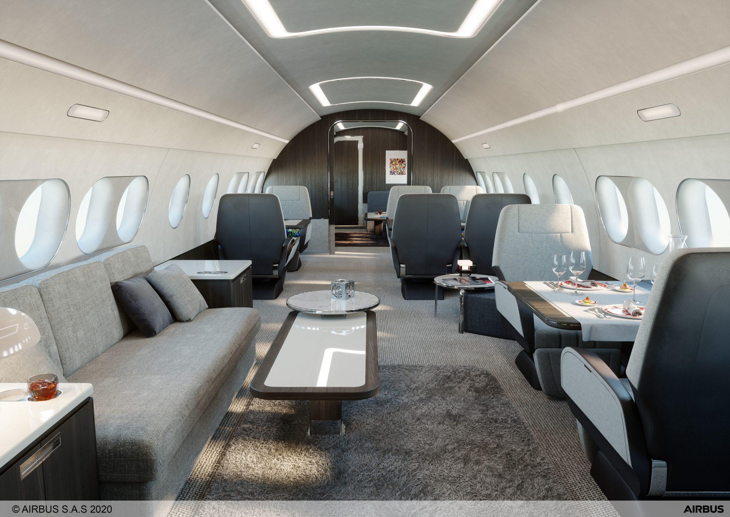 L'intérieur luxueux de l'ACJ220 dédié au voyage d'hommes d'affaires