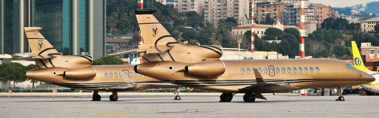 Gold private jet