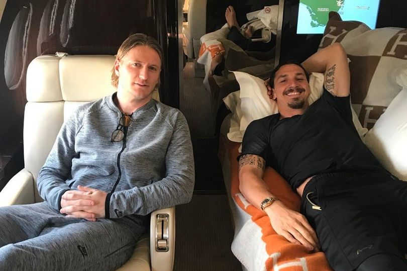 Zlatan Ibrahimovic in his private jet
