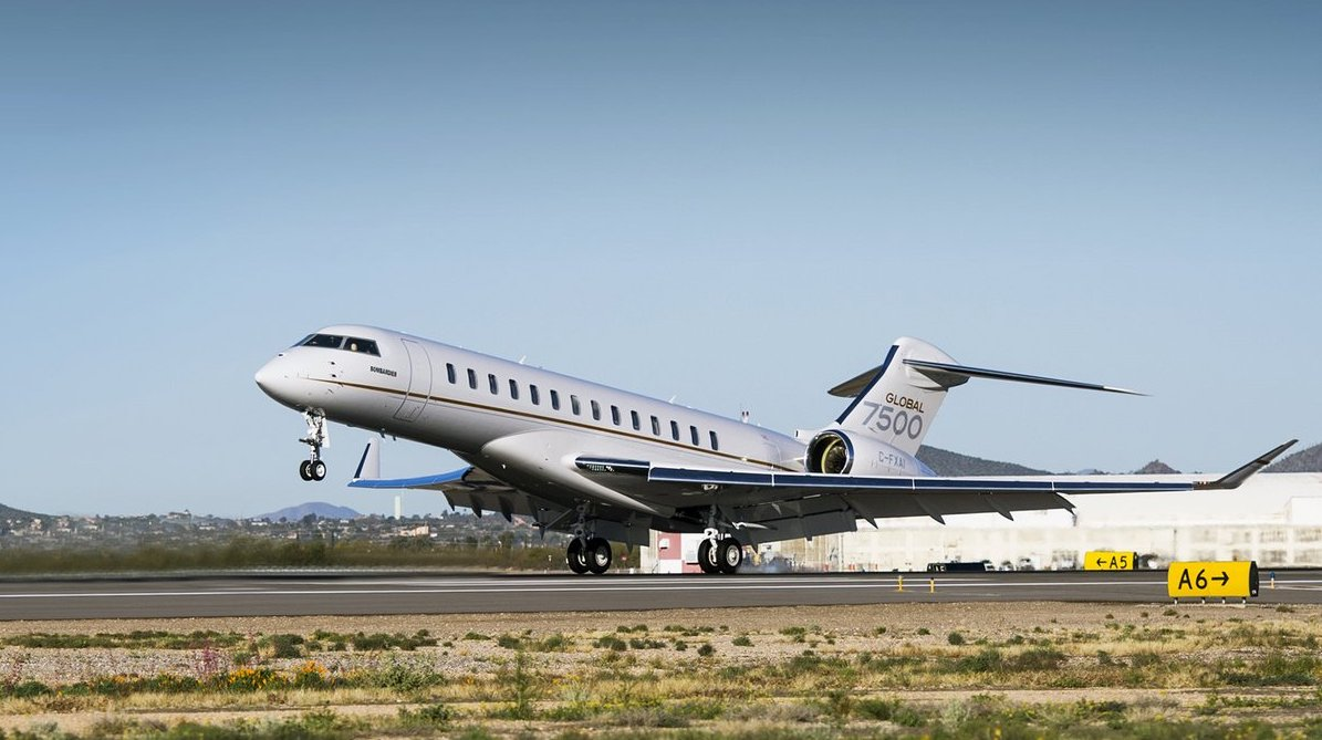 The Bombardier Global 7500 taking-off
