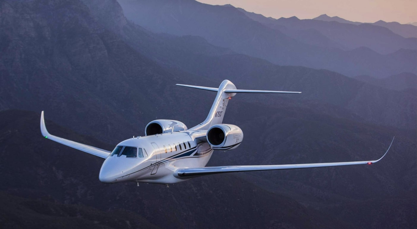 The Cessna Citation X+ flying