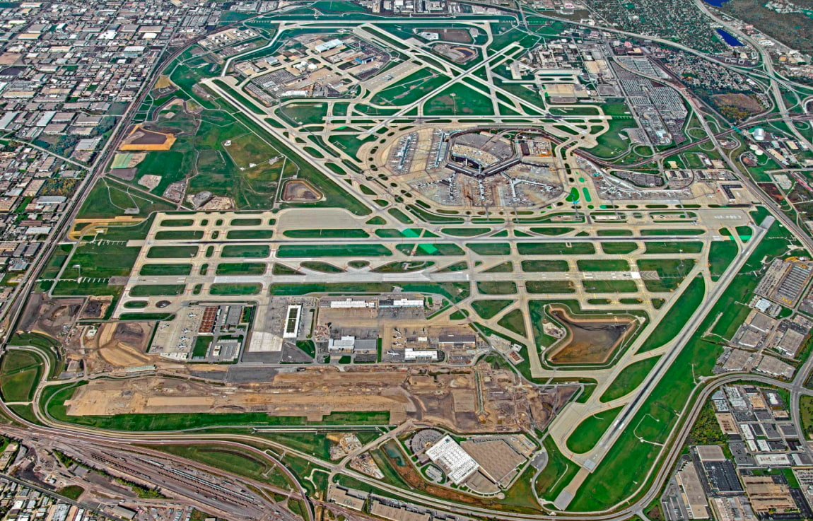 Chicago O'Hare airport Aerial View