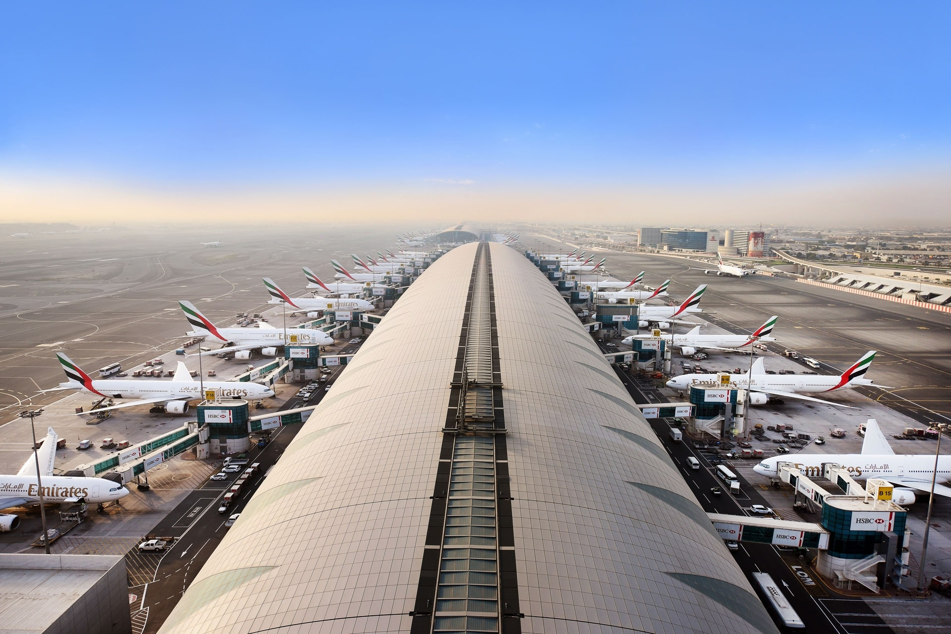 Dubai Airport Emirates Terminal Aerial View
