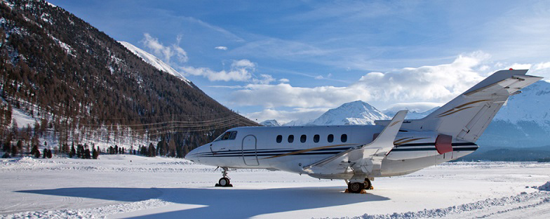 Private jet in winter in the snow